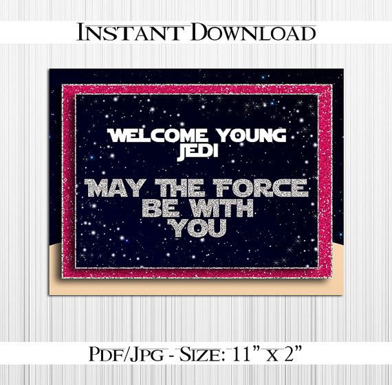 Star Wars Silver Pink Welcome Sign Pdf Jpg By Magicpaperstore