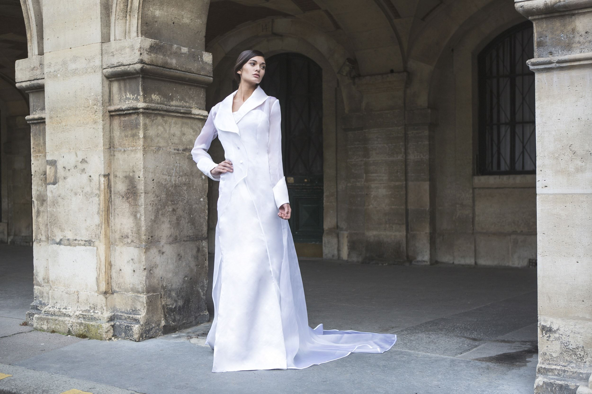 Mirage collection satin wedding dress with its organza coat by mirage collection satin wedding dress with its organza coat by laureen couture from ombrellifo Image collections