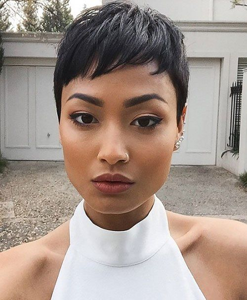 Black Pixie Haircut Cuts For Chubby Faces On Round Short Hair