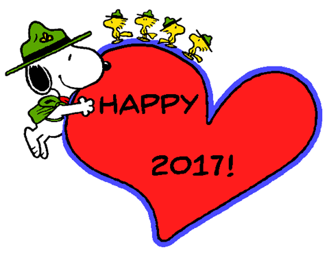 snoopy the beagle scouts wishing everyone a happy new year 2017