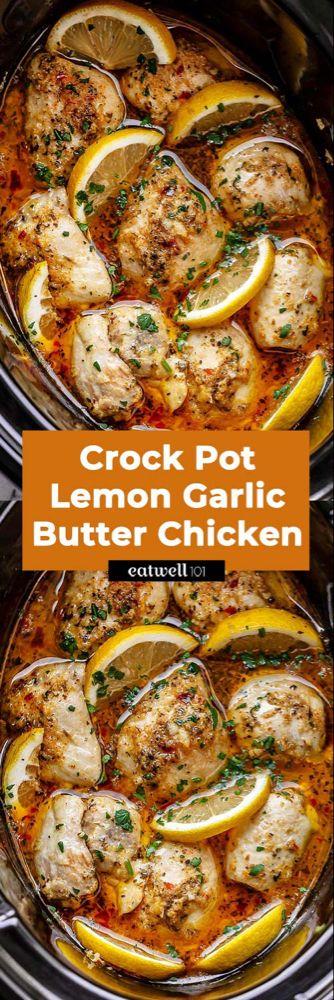 580+Crock Pot Lemon Garlic Butter Chicken Thighs
