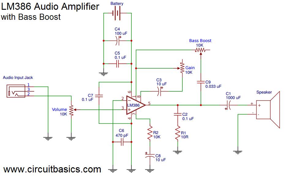 Audio Gain Booster Circuit Diagram