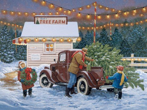 this reminds me of my dad and my sisters and I going to get our tree out in the country ...