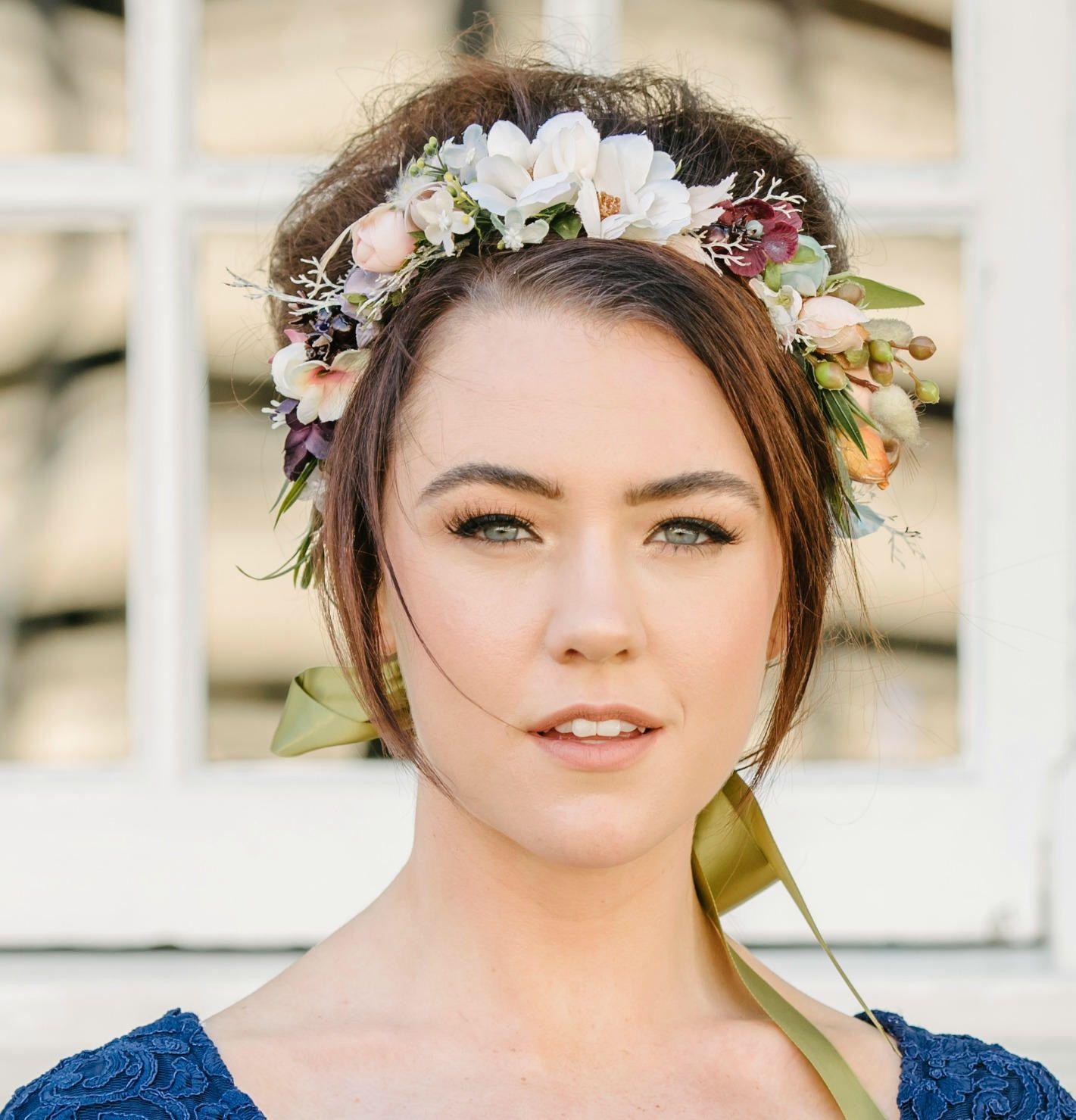 Woodland Rustic Flower Crown Headband Green Flower Headpiece Floral Crown Wedding Flower Crown Wedding Hair Wreath Blue Mauve Maroon Flowers #crownheadband