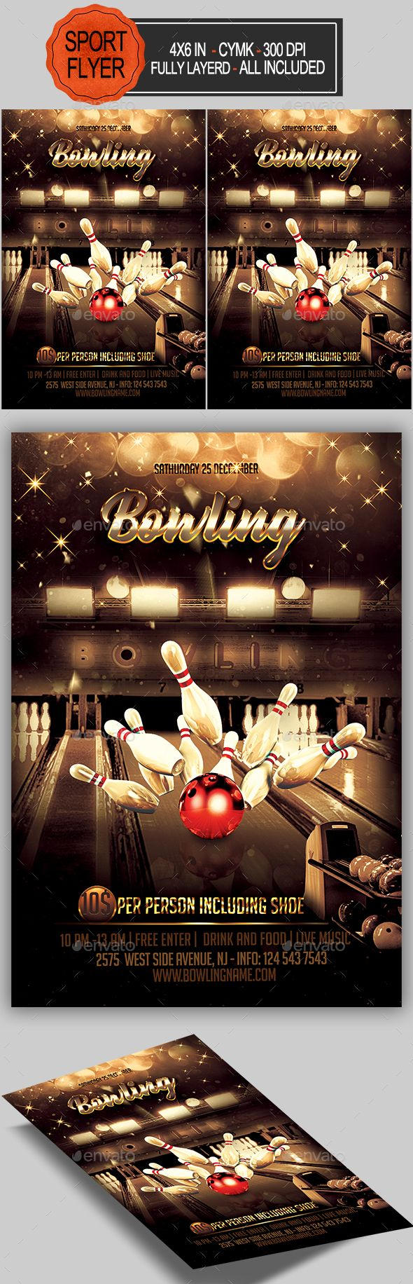Bowling Flyer  Flyer Template Fonts And Template