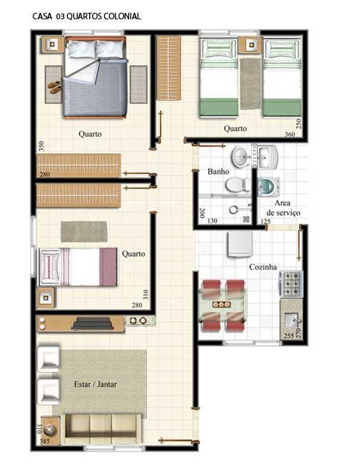 12 modelos de plantas de casas com 3 quartos plantas de for Plantas de casas tipo 3
