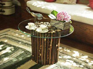 Manualidades y artesan as mesa con troncos utilisima for Cosas decorativas para el hogar