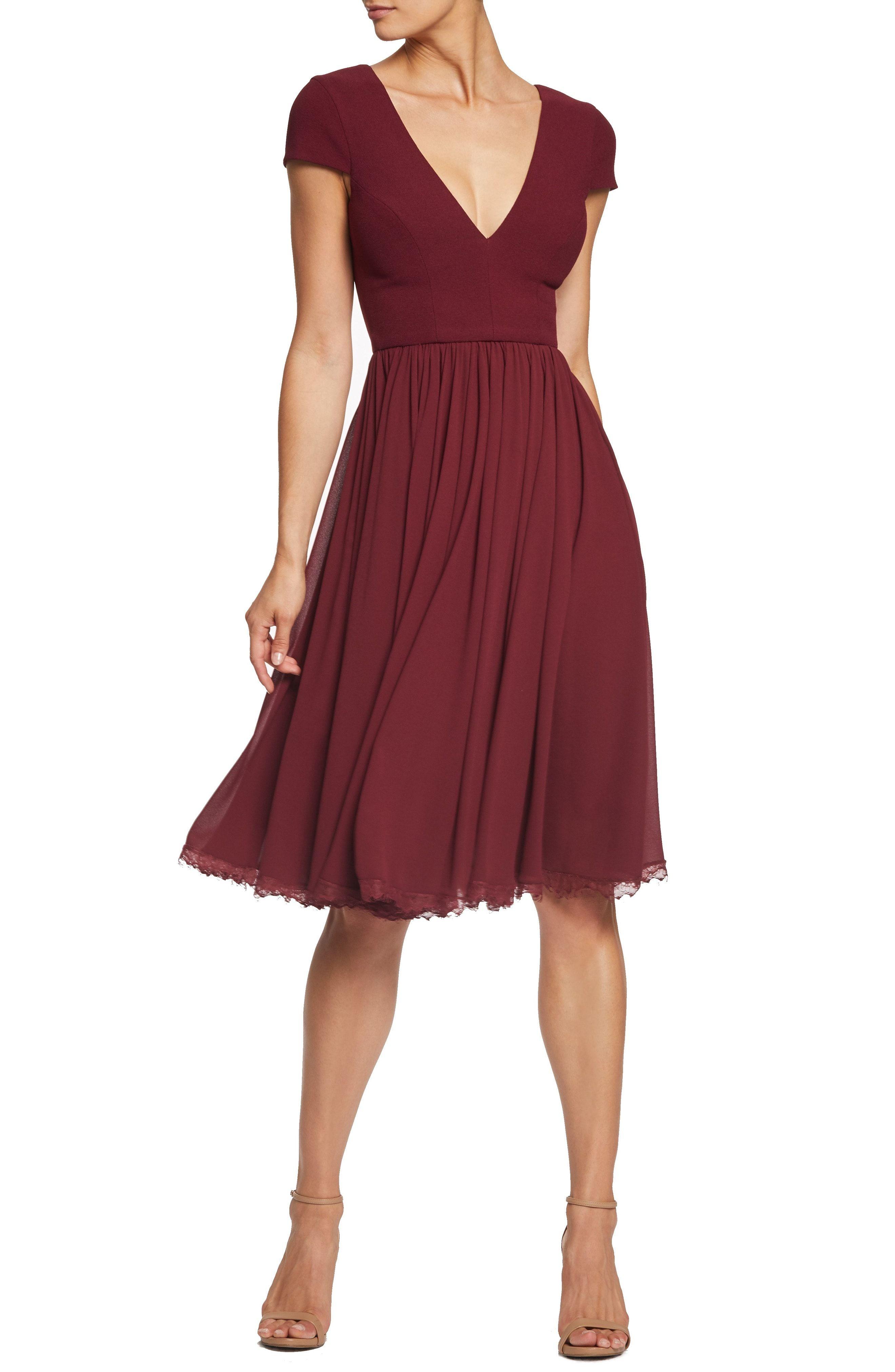 Cute Burgundy Red Dress With Short Sleeves Dress The Population Corey Chiffon Fit Flare Dress A Fit And Flare Cocktail Dress Fit Flare Dress Flare Dress [ 4048 x 2640 Pixel ]