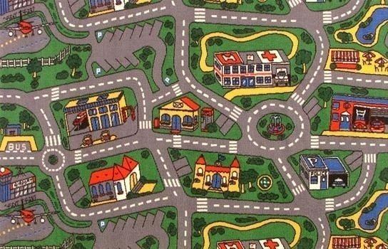 Rug With Roads For Driving Toy Cars