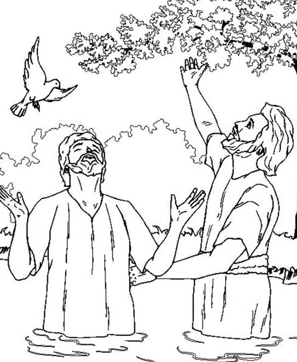 John The Baptist And Jesus Looking Up The Sky Coloring Page Netart John The Baptist Coloring Pages Jesus Coloring Pages