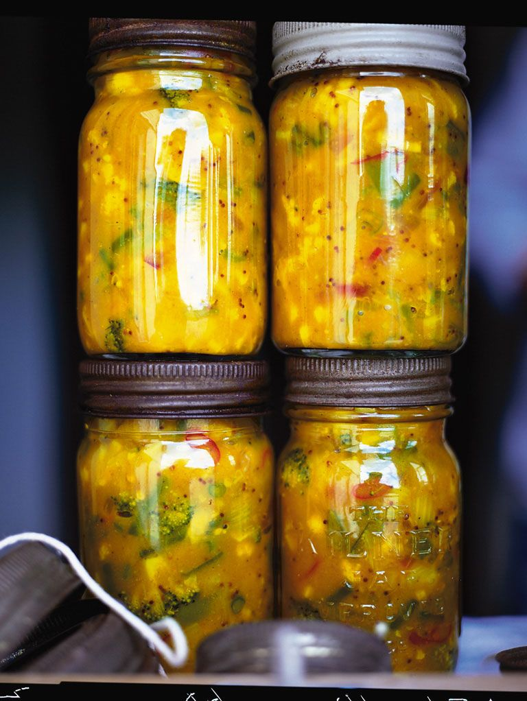 jamie's piccalilli | Jamie Oliver | Food | Jamie Oliver (UK)  I suspect this could be made as a lacto-fermented pickle using whey instead of vinegar.