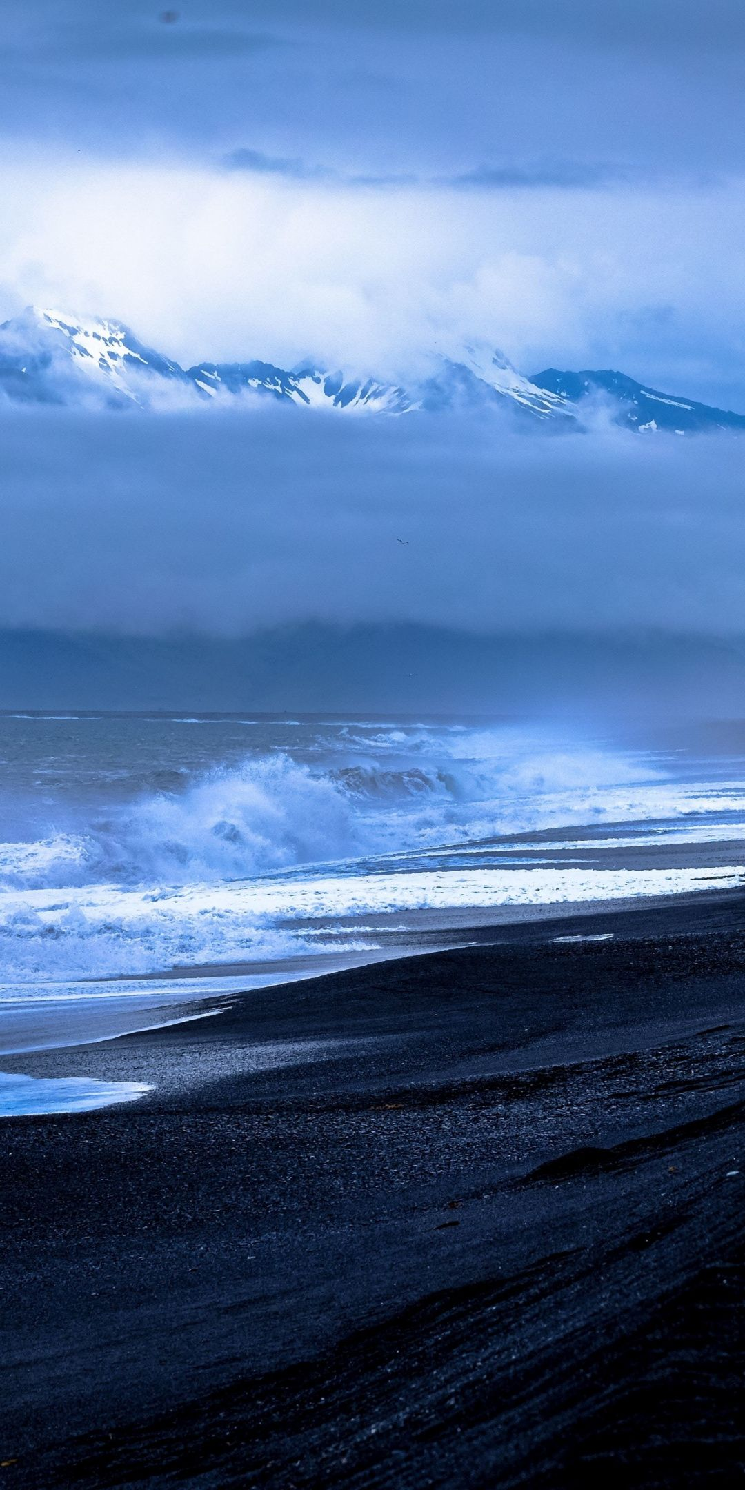 Black Beach Clouds Sea Waves Nature 1080x2160 Wallpaper