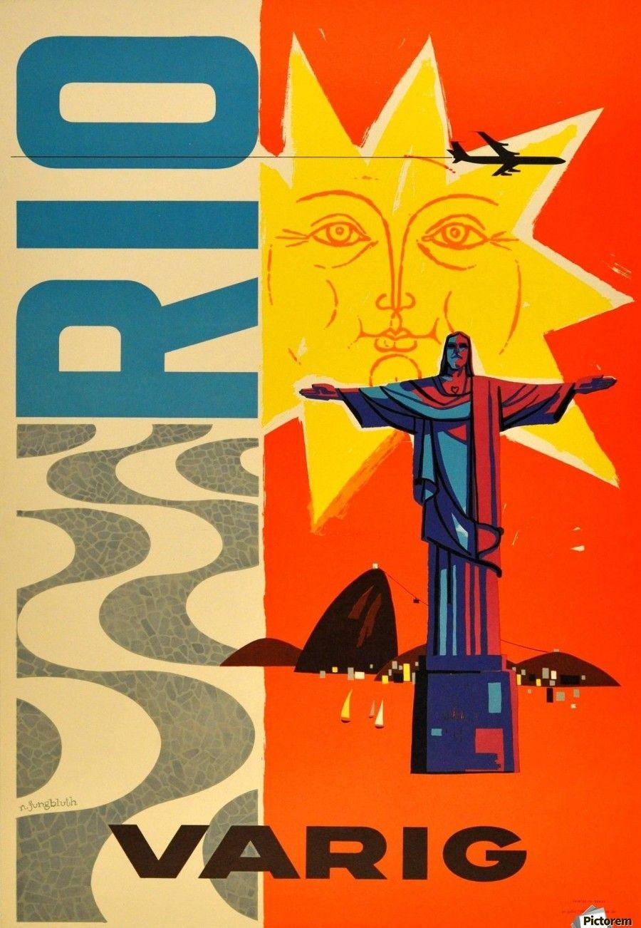 Rio Varig Original Vintage Travel Advertising Poster Vintage Poster Canvas Artwork Vintage Posters Vintage Airline Posters Vintage Travel Posters