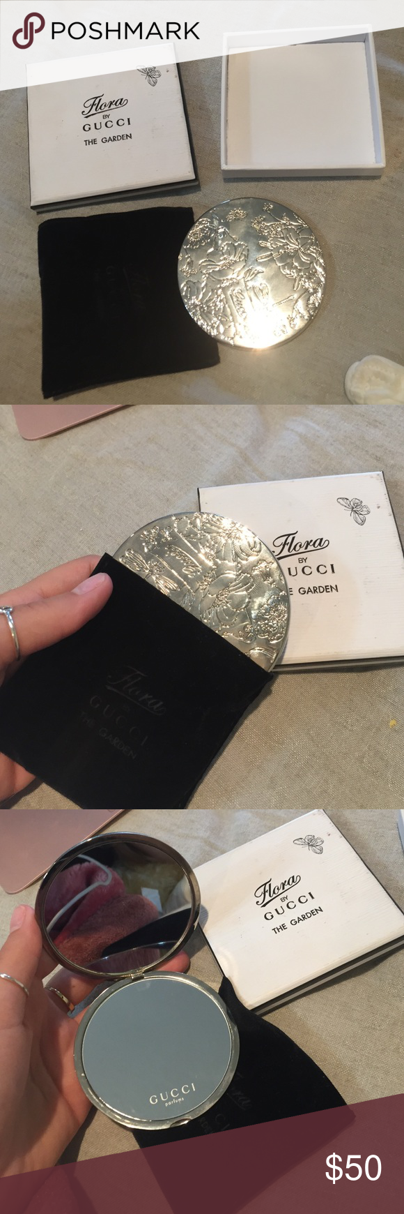 Gucci silver metal limited edition mirror. One of a kind. GUCCI double sided mirror. Plastic still not pealed off. Comes in its own bag and box for safe travel. Gucci Accessories