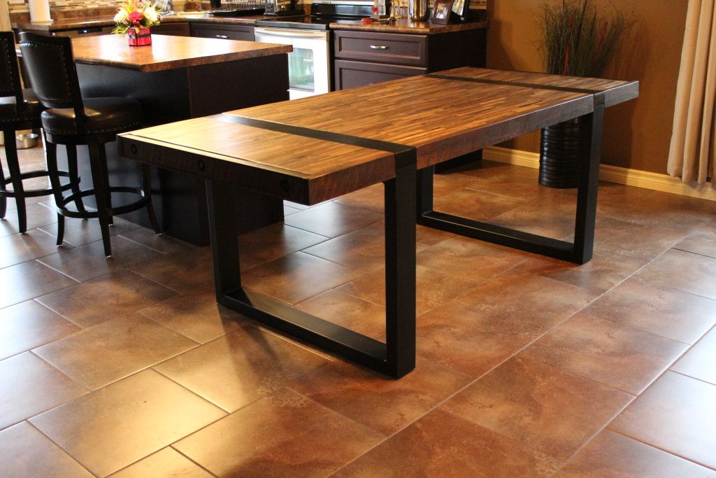 Wrap Around Steel Leg Dining Table With 12 Species Of Reclaimed Wood