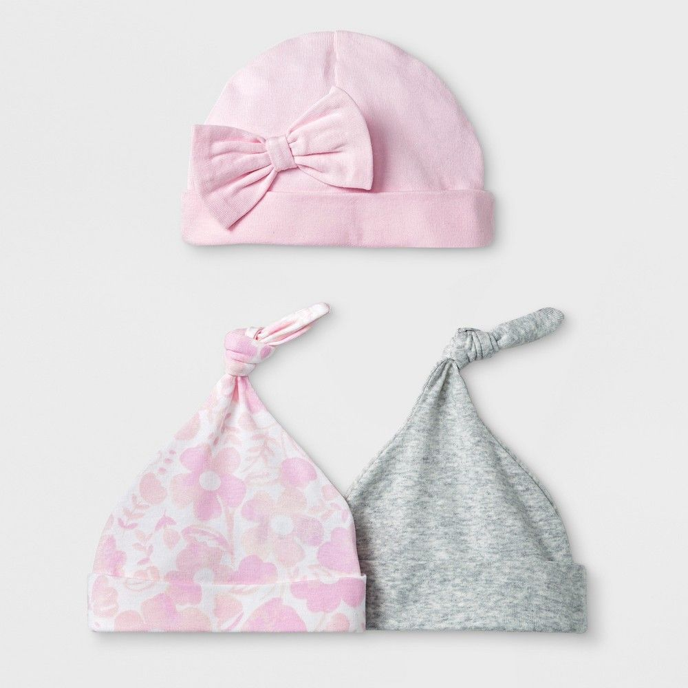 Baby Girls  3pk Hats - Cloud Island Pink Newborn  63915ee2f