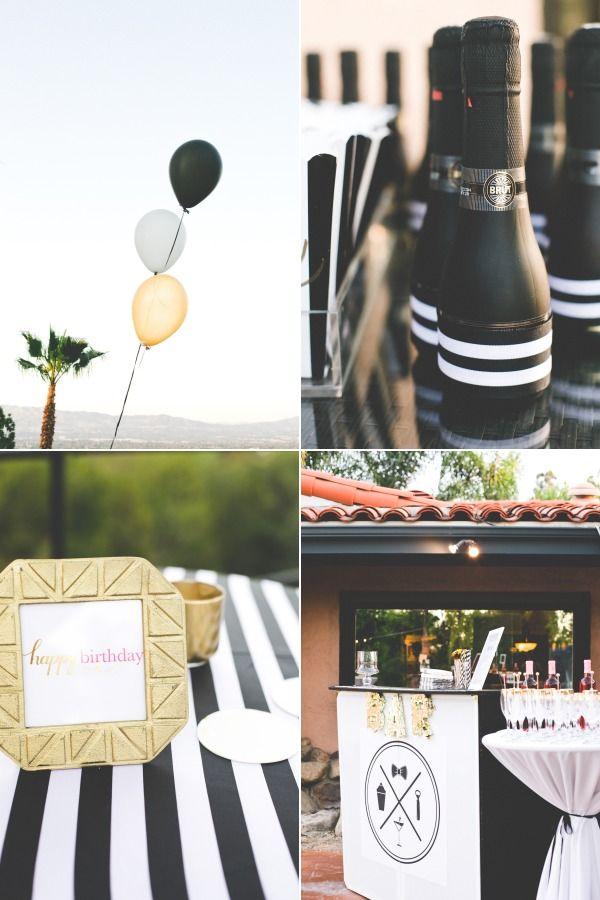 Chic Black White Gold Birthday Party Gold Birthday Party