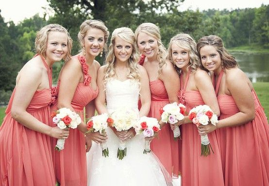 obsessed with coral bridesmaid dresses wedding pinterest coral