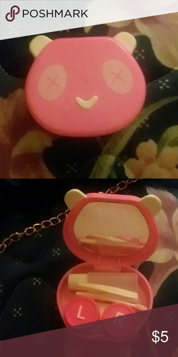 Pink Panda Contact Case Brand New Makeup Brushes Tools Pink Panda Pink Contact Case