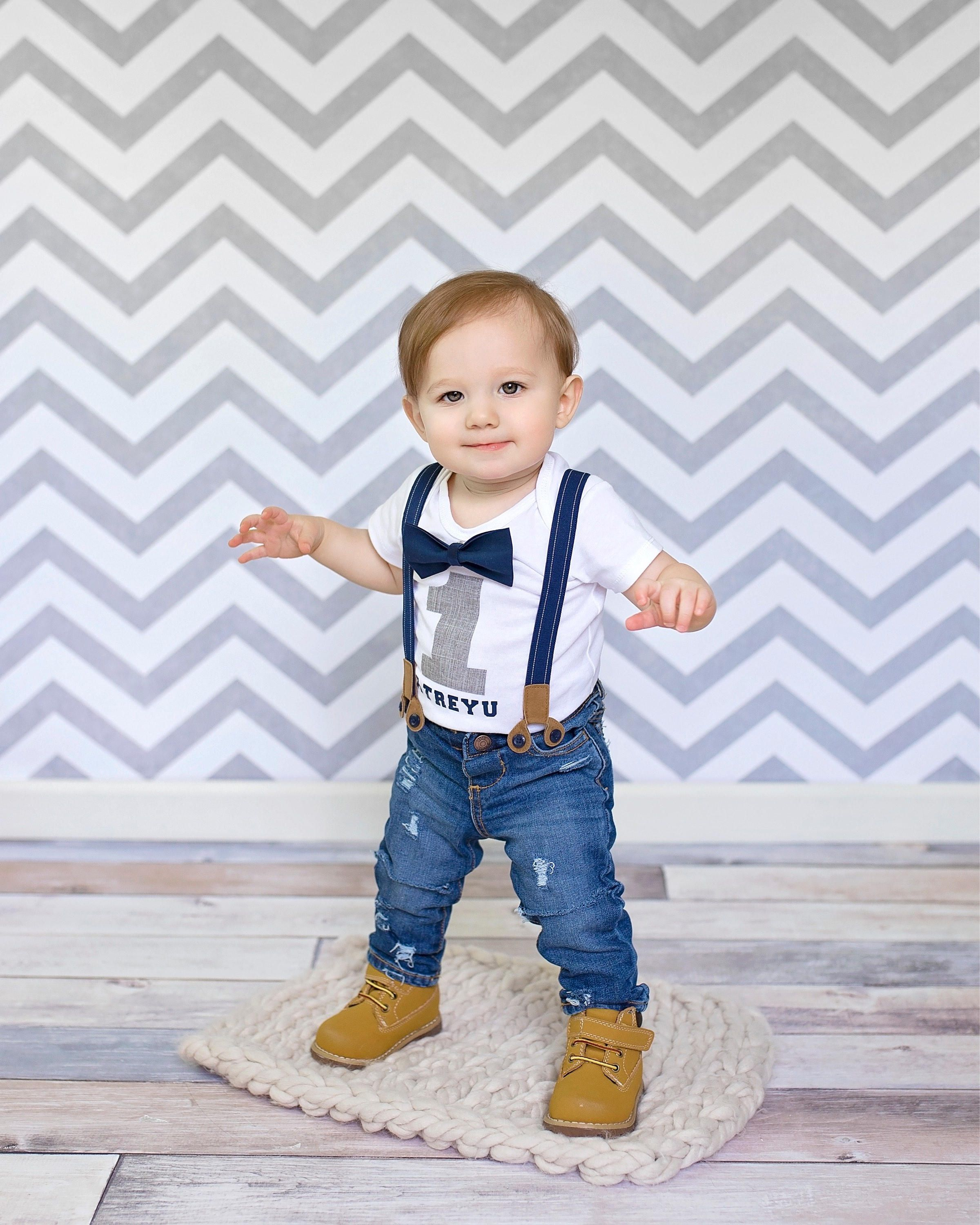 Boys First Birthday Outfit Jeans \u0026 Suspender Set // Cake