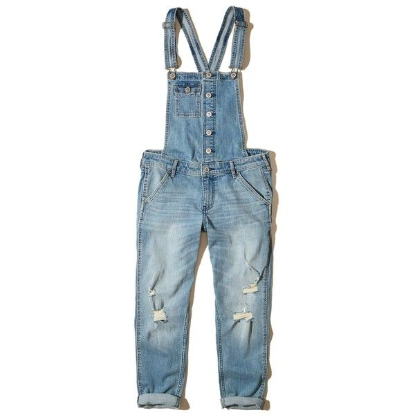 c52fb459548 Hollister Crop Boyfriend Denim Overalls (70 PAB) ❤ liked on Polyvore  featuring jumpsuits