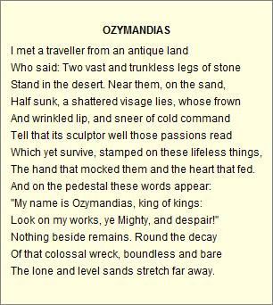 Ozymandias, my sons favorite ~ Percy Bysshe Shelley   English ...