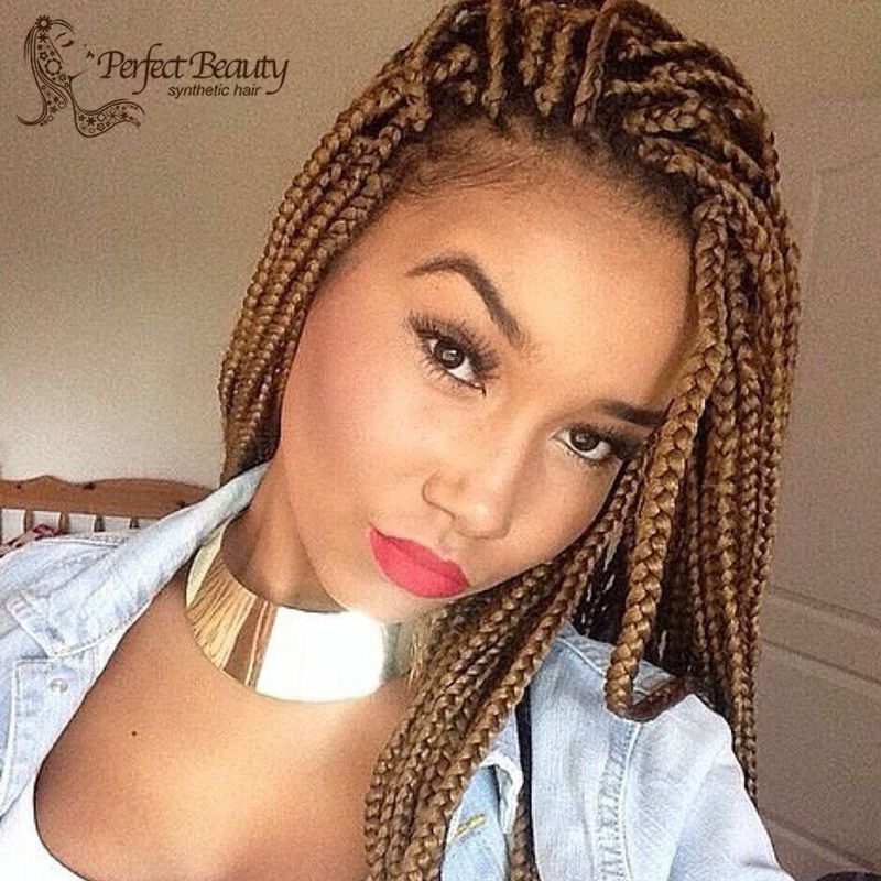 Brown Micro Braids Wigs Afro Women Synthetic Lace Front