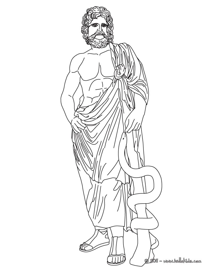 Line Art God Images : Asclepius greek goddess gods coloring page