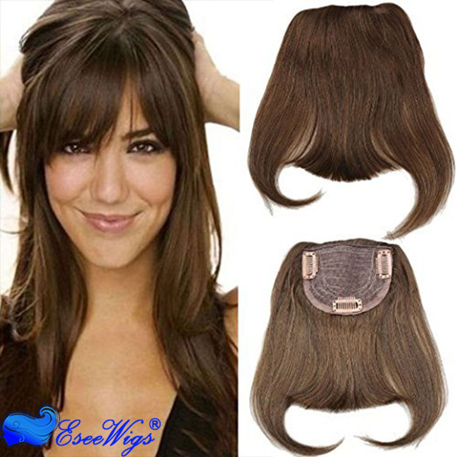Human Hair Bangs 100 Brazilian Virgin Hair Straight Clip In Bangs Machine Weft With Combs Natur Human Hair Clip Ins Brazilian Human Hair Hairstyles With Bangs