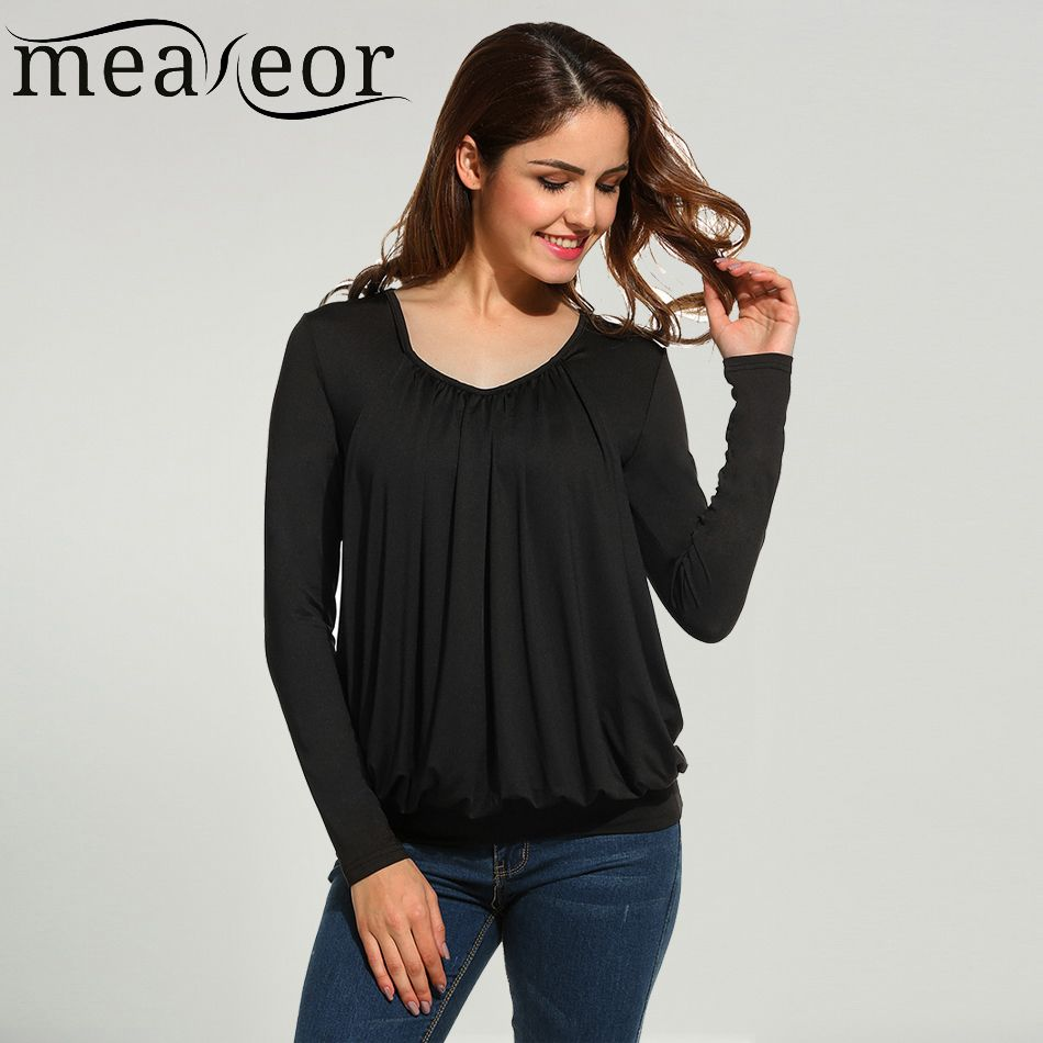 Meaneor Brand Spring Blouse Shirt 2017 New arrival Women Casual V-Neck Long Sleeve Solid Front Fold Pleated Top Blouses Shirt <3 AliExpress Affiliate's Pin. Click the image to visit the website