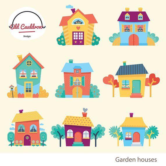 Houses clipart commercial use, garden houses clip art ...