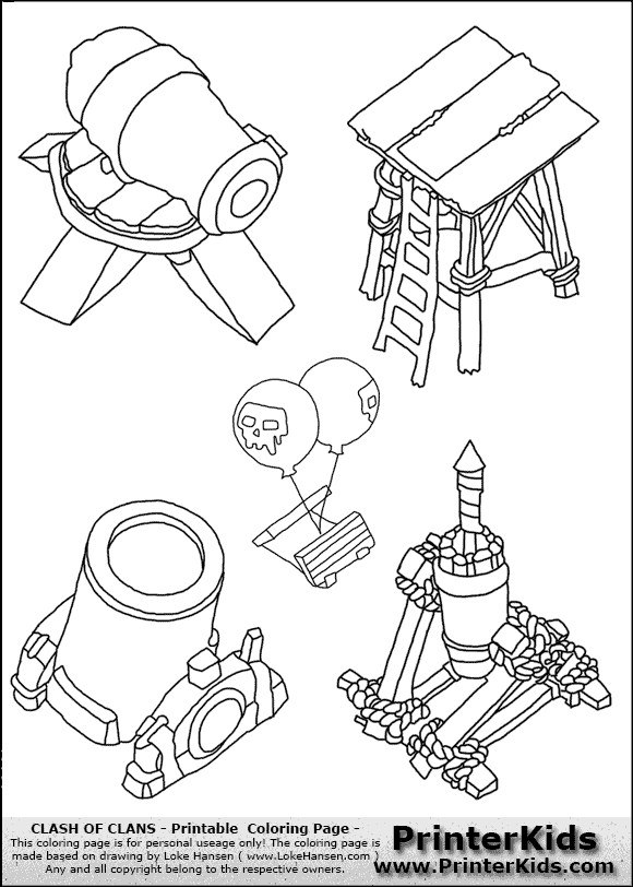 Clash Of Clans Tower Group Coloring Page Clash Games
