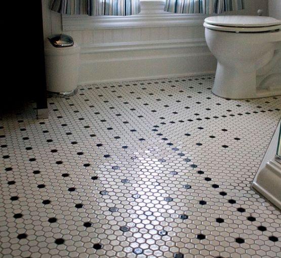 Black and white hexagon bathroom floor tile design ...