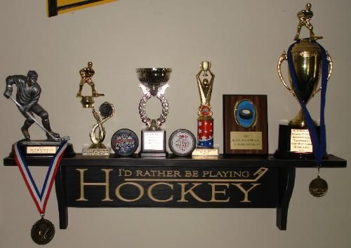 Hockey Shelves Hockey Trophy Shelf Painted Pastimes Trophy Shelf Hockey Trophy Shelf Hockey Room