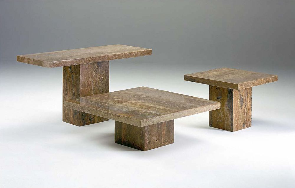 Stone International Roma Boxed Edge Marble Occasional Tables