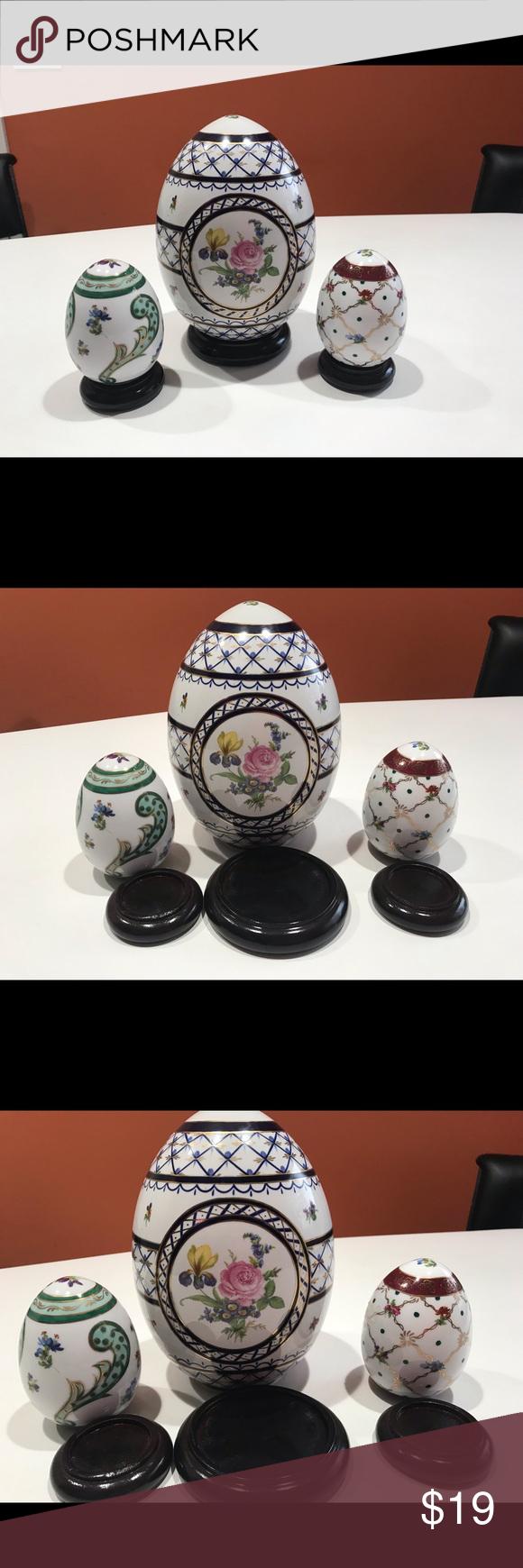 Beautiful Ceramic Eggs, Set Of 3 Pieces Ceramics