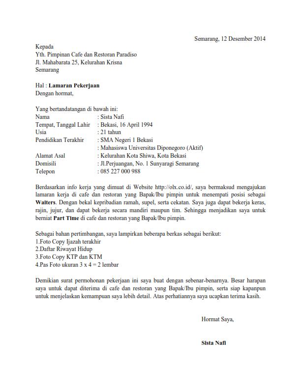 Surat Lamaran Kerja Informasi Dari Teman Ben Jobs Contoh Lamaran