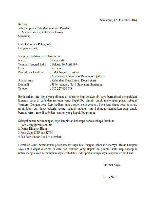 Surat Lamaran Kerja Informasi Dari Teman Ben Jobs Contoh Lamaran Kerja Dan Cv Pinterest