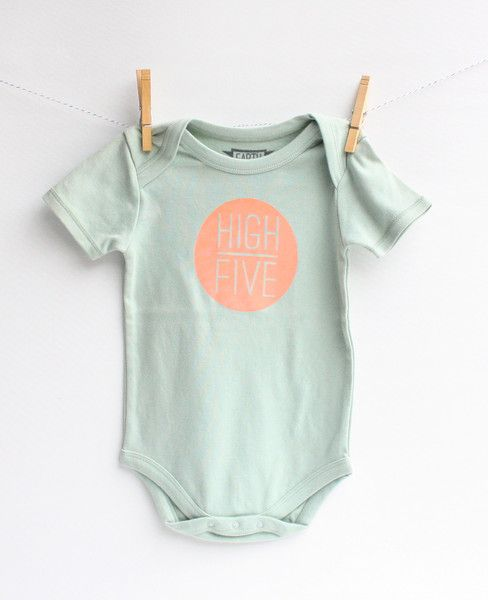 High Five! - hand printed organic bodysuit