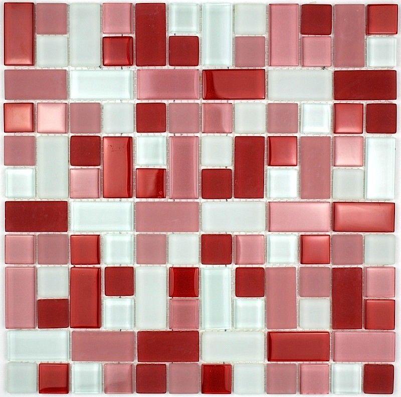 carrelage mosaique verre faience salle de bain CUBIC ROUGE 7,90