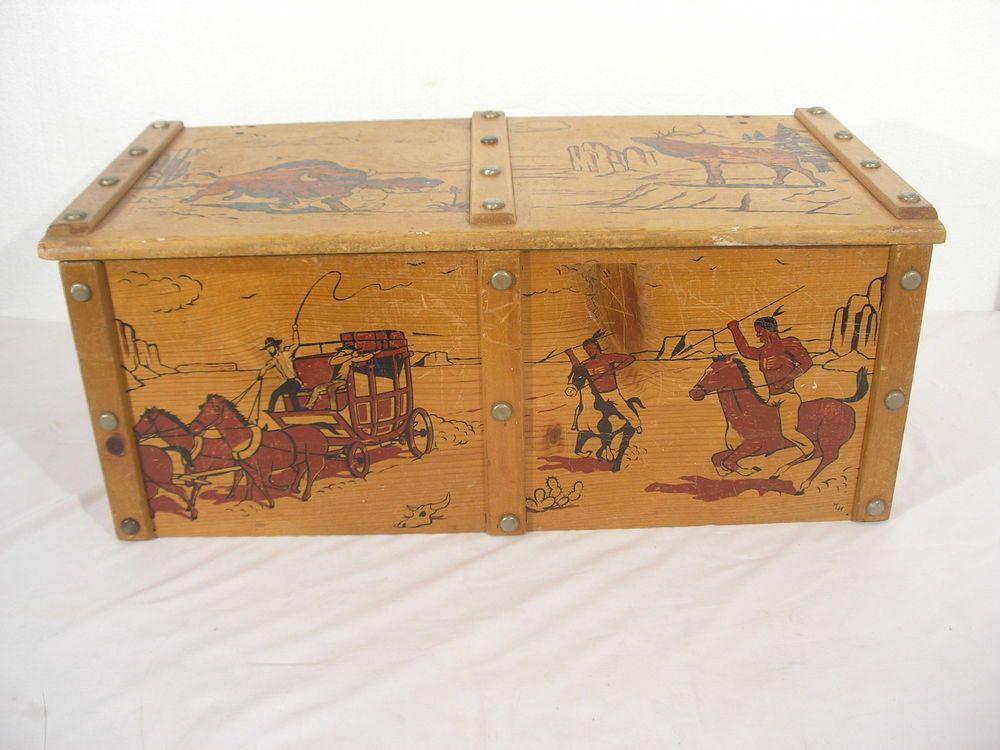 1950s Vintage Cowboy Indian Wild West Pine Wood Wooden Toy Box Chest Wooden Toy Boxes Toy Boxes Wooden Toys