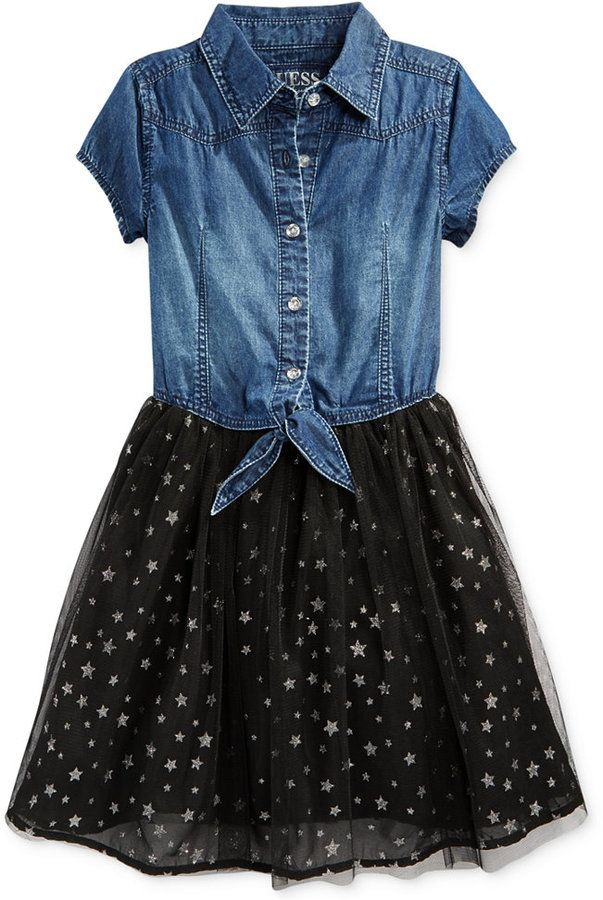 9ab27b2f5c GUESS Little Girls  Denim-to-Chiffon Dress on shopstyle.com