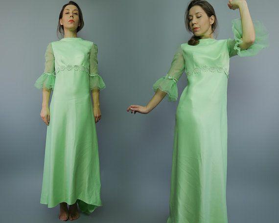 abc7019da0e Regency Vintage 70 seafoam green dress Costume party Straight Maxi Dress  Romantic Dress 70s Puffy sh