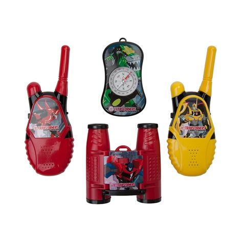 Transform their imaginations with this new Transformers Walkie Talkie Set. This Walkie Talkie Toy Set includes a compass, binoculars, and 2 walkie talkies with flexible safety antennas, push to talk buttons, volume control switches, and battery saving on/off switches.