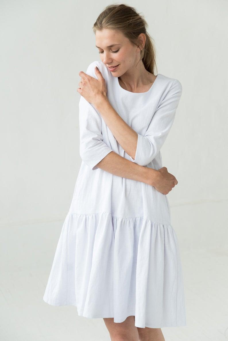 White Linen Dress Summer Dress Linen Wedding Dress Etsy White Linen Dresses White Linen Dress Summer Linen Dresses [ 1189 x 794 Pixel ]