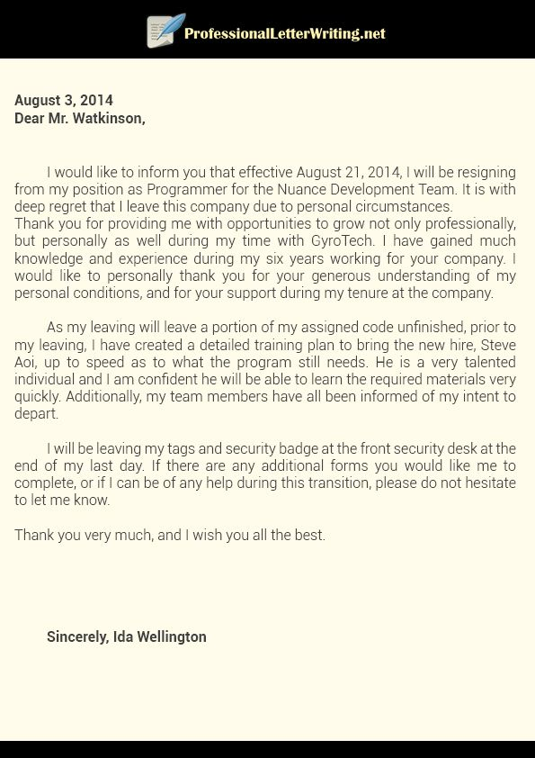 professional resignation letter writing osfjeop sample Home Design