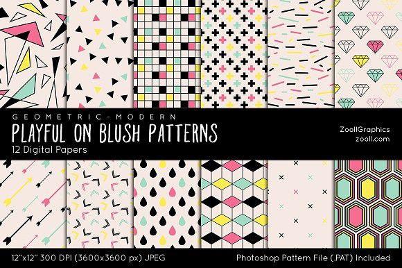 Playful On Blush Digital Papers. Patterns