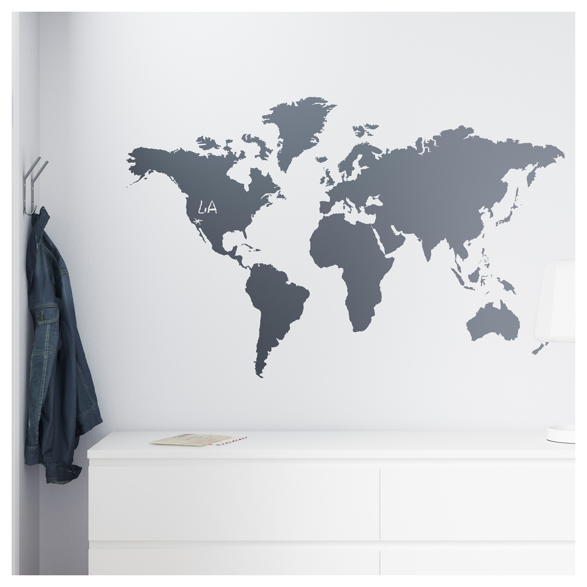 Muursticker Wereldkaart Krijt.Ikea Klatta Decorative Stickers Chalkboard World In 2019