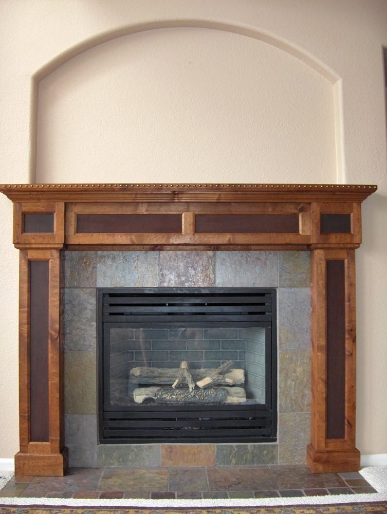 Fireplace mantle with slate surround  Home Sweet Near Future