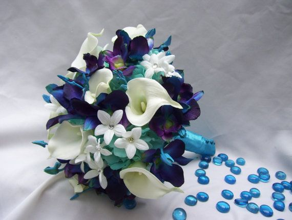 Becca S Bridal Bouquet With White Calla Lilies Aqua Hydrangeas Crystals Blue Dendrobium Orchids Galaxy Singapore Orchids Bridal Bouquet Silk Bridal Bouquet Bouquet
